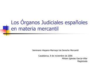 Los Órganos Judiciales españoles en materia mercantil