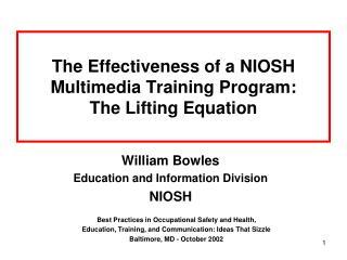 The Effectiveness of a NIOSH Multimedia Training Program: The Lifting Equation