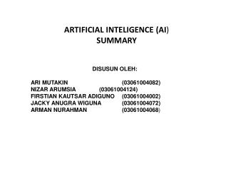 ARTIFICIAL INTELIGENCE (AI ) SUMMARY