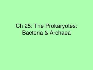Ch 25: The Prokaryotes: Bacteria & Archaea