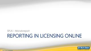 Reporting in licensing online