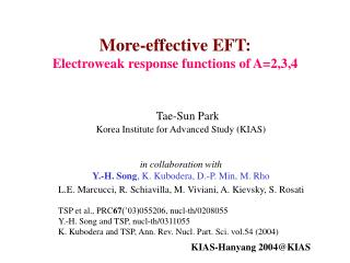 Tae-Sun Park Korea Institute for Advanced Study (KIAS) in collaboration with