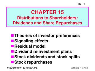 CHAPTER 15 Distributions to Shareholders:  Dividends and Share Repurchases