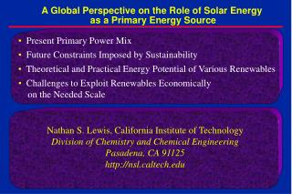 A Global Perspective on the Role of Solar Energy  as a Primary Energy Source