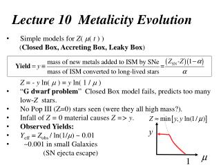 Lecture 10  Metalicity Evolution