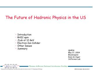 The Future of Hadronic Physics in the US