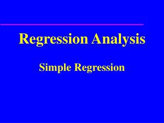 Regression Analysis  Simple Regression