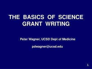 THE  BASICS  OF  SCIENCE GRANT  WRITING