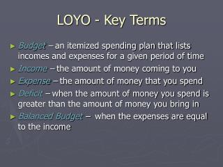 LOYO - Key Terms