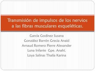 Transmisión de impulsos de los nervios a las fibras musculares esqueléticas.