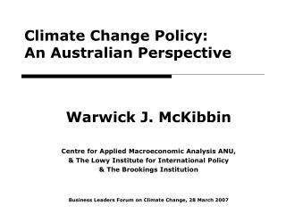 Climate Change Policy: An Australian Perspective