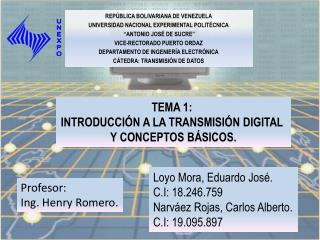 TEMA 1 :  INTRODUCCIÓN A LA TRANSMISIÓN DIGITAL  Y CONCEPTOS BÁSICOS .