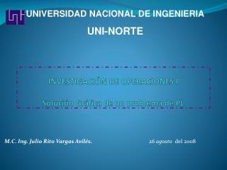INVESTIGACIÓN DE OPERACIONES I Solución Gráfica de un problema de PL