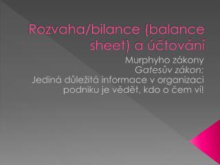 Rozvaha/bilance  (balance  sheet ) a účtování