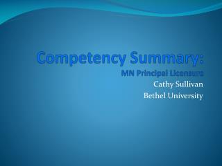 Competency Summary: MN Principal Licensure