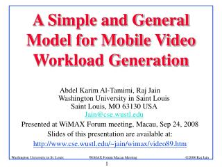 A Simple and General Model for Mobile Video Workload Generation