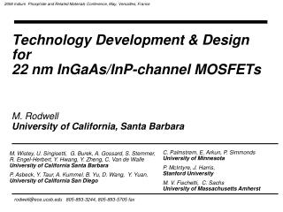 Technology Development & Design  for  22 nm InGaAs/InP-channel MOSFETs