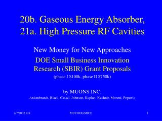 20b. Gaseous Energy Absorber, 21a. High Pressure RF Cavities