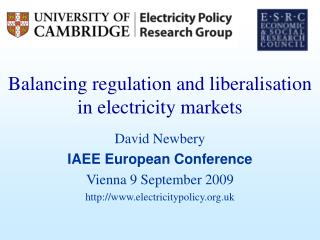 Balancing regulation and liberalisation in electricity markets