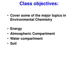 Class objectives: