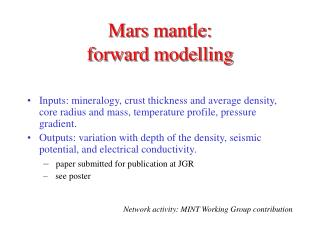 Mars mantle:  forward modelling