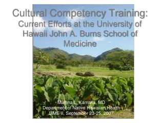 Cultural Competency Training:  Current Efforts at the University of Hawaii John A. Burns School of Medicine