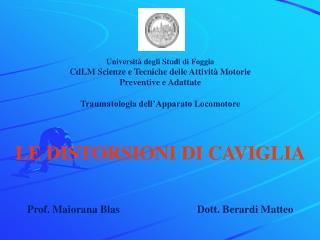 Università degli Studi di Foggia CdLM Scienze e Tecniche delle Attività Motorie