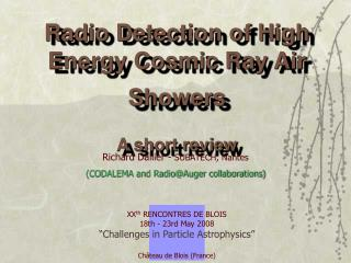Radio Detection of High Energy Cosmic Ray Air Showers A short review