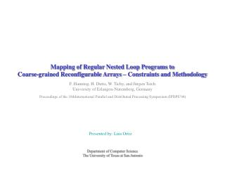 Mapping of Regular Nested Loop Programs to