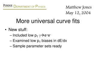 More universal curve fits