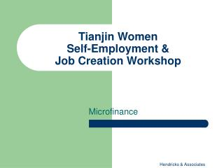 Tianjin Women  Self-Employment &  Job Creation Workshop