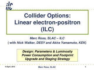 Collider Options:  Linear  electron-positron (ILC)