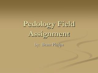 Pedology Field Assignment