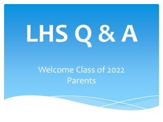 LHS ANNOUNCEMENTS