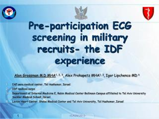 Pre-participation ECG screening in military recruits- the IDF experience