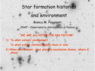 Star formation histories and environment
