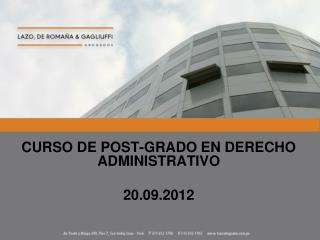 CURSO DE POST-GRADO EN DERECHO ADMINISTRATIVO 20.09.2012
