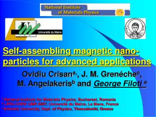Self-assembling magnetic nano-particles for advanced applications