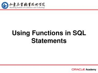 Using Functions in SQL Statements