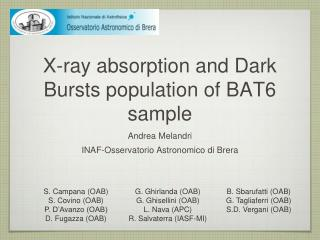X-ray absorption and Dark Bursts population of BAT6 sample