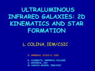 ULTRALUMINOUS INFRARED GALAXIES: 2D KINEMATICS AND STAR FORMATION