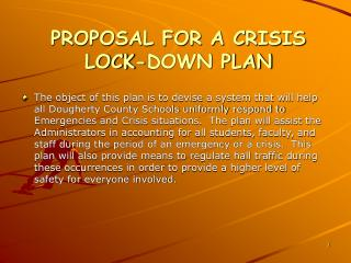 PROPOSAL FOR A CRISIS LOCK-DOWN PLAN