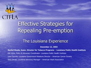 Effective Strategies for Repealing Pre-emption