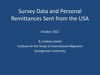 Survey Data and Personal Remittances Sent from the USA