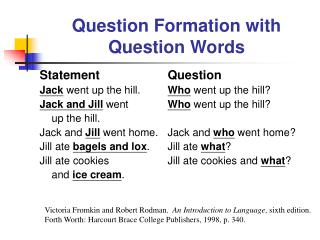 Question Formation with Question Words