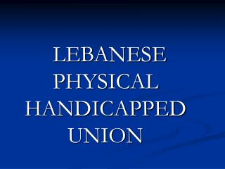 LEBANESE PHYSICAL HANDICAPPED UNION