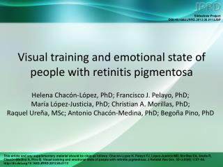 Visual training and emotional state of people with retinitis pigmentosa