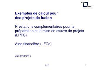 Exemples de calcul pour