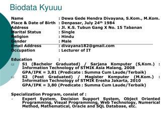 Biodata Kyuuu