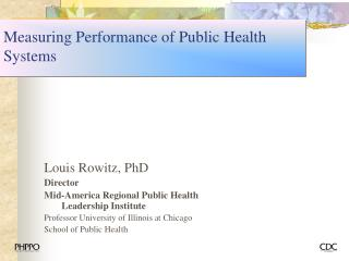 Measuring Performance of Public Health Systems